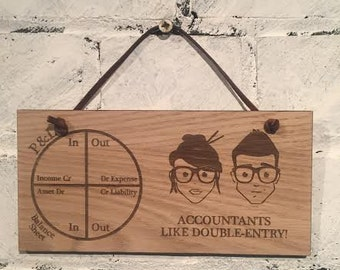 Accountants Like Double-Entry! Rude but humorous shabby chic wooden plaque/sign gift for accountants friends or colleagues.