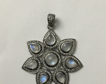 Pave white topaz moonstone sterling silver charm