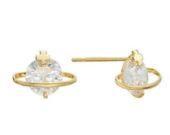 14k Solid Yellow Gold Stud Earrings 7597 Charming Cross Design Lovely