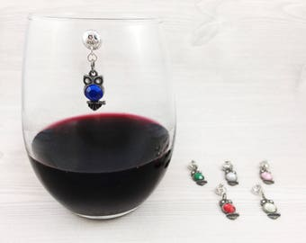 6 Owl Magnetic Wine Charms, Stemless Wine Charms, Drink Charms, Animal Wine Charms, Bird Wine Charms, Owl Gifts, 21st Birthday Gift