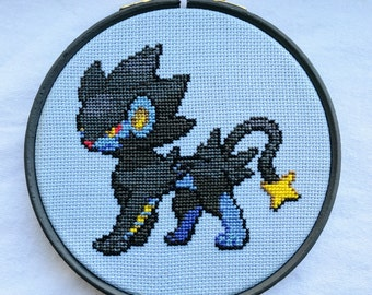 "Luxray Pokemon Cross Stitch in 5"" Hoop"