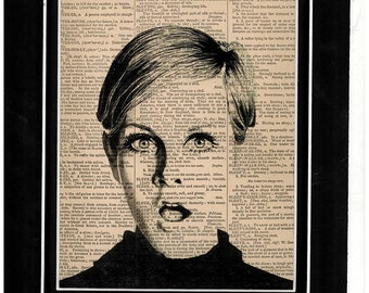 Famous 1970's model icon Twiggy dictionary art