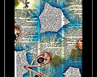 Ballerina/Ballet/dancer/dancing art print vintage dictionary paper 424