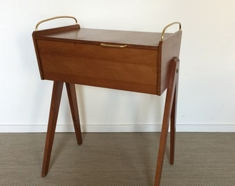 Mid century 50's 60's sewing box from wood with brass