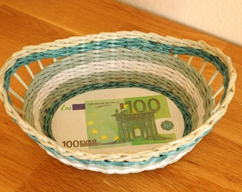 Fruit, bread basket made of paper, money tray, punnets