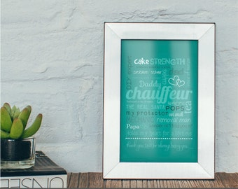 Dad print, teal print, A4, fathers day, dad appreciation, love my dad, typography print, word art