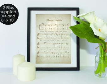 Brahms Lullaby Music Sheet, Wall Art, Music, Text, Home Decor Print - US Letter and A4