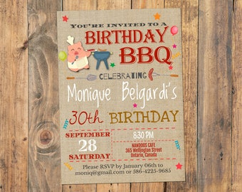 BBQ Birthday Invitation, Barbecue Invitation, BBQ Invitations, Barbecue Party Invitation, Self Editable PDF file, Instant Download, Any Age
