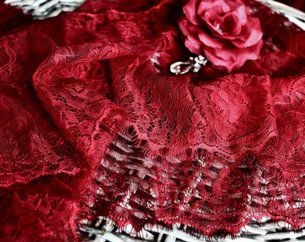 Red lace fabric I Red lace trim I Red lace I Dark red lace trim I Red lingerie lace I Red tulle lace I border lace I Wide lace I Lace