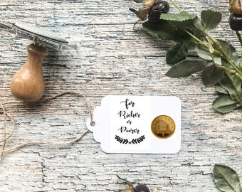 FOR RICHER or for POORER -  wedding stamp, wedding invitations, wedding gifts, wedding custom stamp, wedding compliments stamp