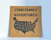 Map with Custom Header! Push Pin Cork Travel Map of the United States - Pinnable Cork Map of the USA - Travel Map