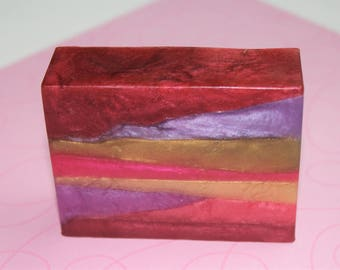 Sweet on Paris and Buttercream icing glycerin soap, handcrafted glycerin soaps, artisan soap, bright reds purple green and gold soap