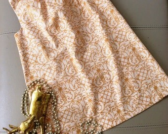 SALE Girls A Line Gold Cotton Dress. Elegant and Practical.