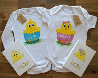 CHICKEN Baby Girl & Boy Bodysuit set Hand Painted Personalized with Gift Box, Easter Matching Bodysuit for Siblings Twins Brother and Sister
