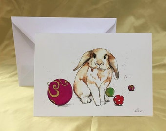 A5 Watercolour Bunny Greetings Card