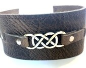 Women's Brown Leather Cuff:  Double Infinity Rustic Brown Leather Bracelet, Celtic Knot