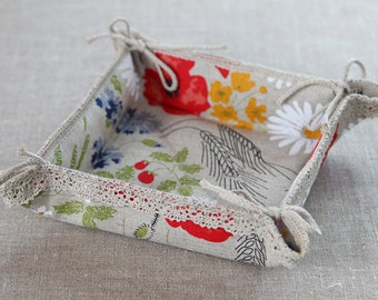 Linen bread basket Meadow