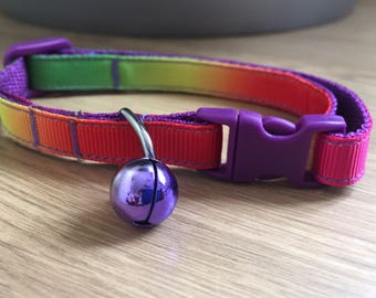 Bright Rainbow Ombre Cat/Kitten Collar with Purple (Quick Release)
