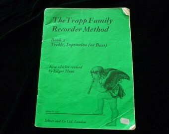 Vintage Sheet Music Book, The Trapp Family Recorder Method Book 2 1976, Treble, The Trapp Family