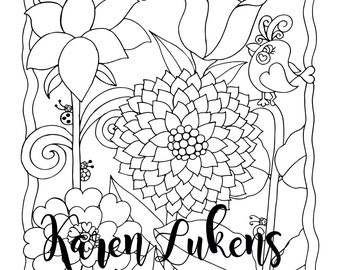 Flirty Flowers, 1 Adult Coloring Book Page, Printable Instant Download, Valentine's