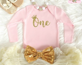 Gold and Pink Birthday - First birthday outfit - 1st birthday outfit - 1st Birthday Shirt - First birthday tee shirt - Birthday tshirt - one