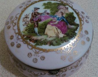 Vintage box, Trinket box, Porcelain box, Collectible box,Useful box