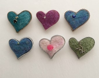 Needle Felted Heart Zipper Brooch, Hat Pin, Lapel Pin, Sweater Pin, Adornment, Ornament, Friendship Gift
