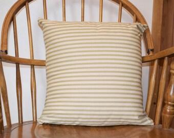 Green Striped Cushion Cover-Olive green-stripy pillow-throw cushion-brown stripes-pair-square-country cushion-Christmas cushion