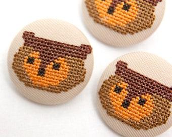 Woodland cross-stitch Owl Button