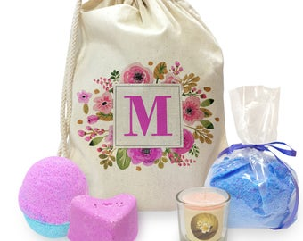 M Floral Letter Border Initial Mini Spa In A Bag Collection 4