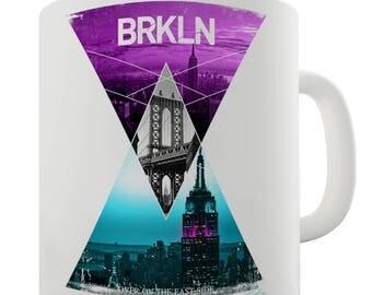 Brooklyn Neon Triangles Ceramic Novelty Gift Mug