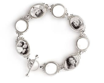 Silver Opal Custom Photo Bracelet