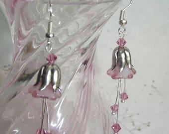 Pink Bellflower Earrings   Crystal Earrings   Drop Earrings   Flower Earrings   Handmade Earrings   OOAK