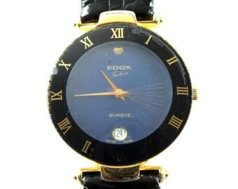 Original Vintage Edox Watch, Swiss Made, Quartz Edox Watch, Black Leather Strap, Date, Swiss, Water Resistant, Stainless Steel, Working