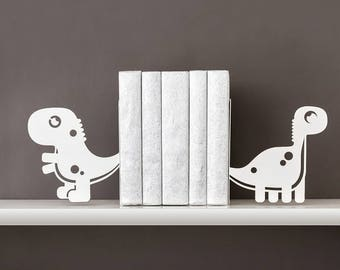 Dino bookends Kids bookends Dinosaur book ends kids Nursery bookends Baby bookends Metal bookends Baby shower gift Book shelf - white