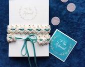 Beaded crochet silk and velvet wedding garter teal blue green gold ivory