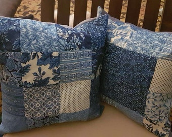 Blue French Country Patchwork Pillowcases/Pillows Set