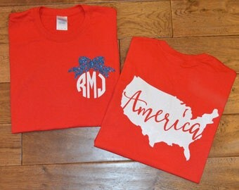 Toddler and Girl's 4th of July Shirt/ Girl's Fourth of July Shirt/ Monogram American Shirt/ Monogram 4th of July Shirt/ Patriotic Shirt/