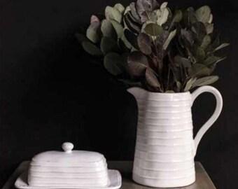 Farmhouse Pitcher | Flower Vase | Rustic Pitcher | Ceramic Pitcher | Farmhouse Kitchen | Ceramic Vase | Farmhouse Kitchen Decor