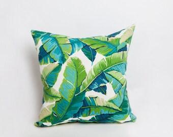 Green Outdoor Pillows, Green, Outdoor Pillow, Tropical Pillow, Leaf Pillow, Indoor Outdoor, All Weather, Designer Pillow, Tropical Decor