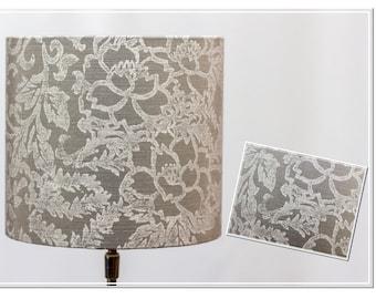 Lampshade -grey Flowers-