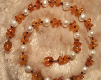 Baltic Amber Necklace with freshwater pearls