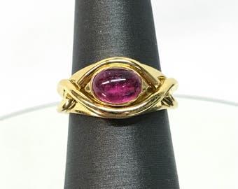 VINTAGE Tiffany & Co 18k Yellow Gold Pink Tourmaline Cabochon Ring ~ RARE!