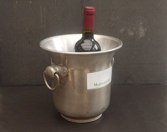 Vintage french Champagne Bucket Mouton Cadet Rothschild, Party Ice Bucket Advertising
