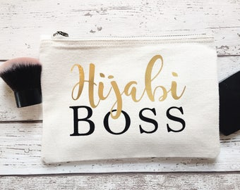 Hijabi Boss make up bag | Islamic gift | Bridesmaid gift  | Birthday Present | Wash bag | Personalised  gift | Muslimah