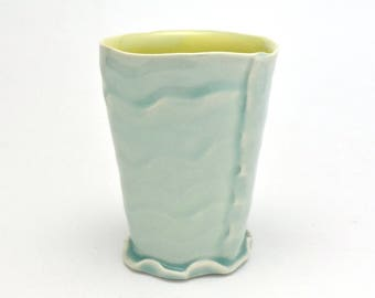 Hand Built Porcelain Tumbler With Celadon Glazes