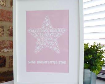 New Baby Print, Personalised Star Baby Print, Word Art Print, Unframed Print, Personalised Print, Star Print, Baby Gift