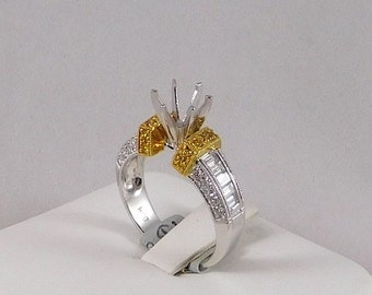 Engagement Ring Mounting, 18k White and Yellow Gold with White and Yellow Diamonds. 0.85TCW