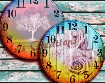 CLOCK FACES various sizes - sunrise & sunset - Printable Colorful Clock Faces for Mixed Media, Scrapbooking, Jewelry Making, Decoupage, etc