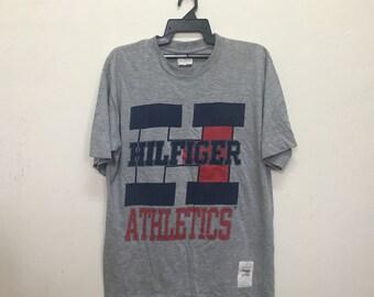 Vintage Tommy Hilfiger Athletics Big Logo T Shirt Made in USA